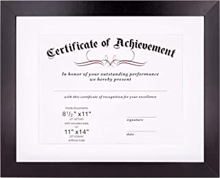 Diploma Certificate Frame   Degree Document Holder   Fits 8.5 x 11 & 11 x 14   Frames for College Graduation   Black Wooden Picture Frame with White Matte & Shatterproof Glass Cover   For any Photo
