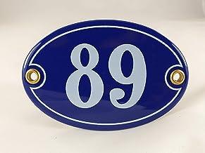 Emaille huisnummerbordje nr. 89, ovaal, blauw-wit Nr. 89 Blau-Weiß