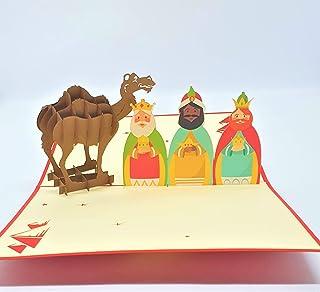 BC Worldwide Ltd cartolina di Natale pop-up 3D fatta a mano Buon Natale tre re magi cammello natività auguri origami vinta...