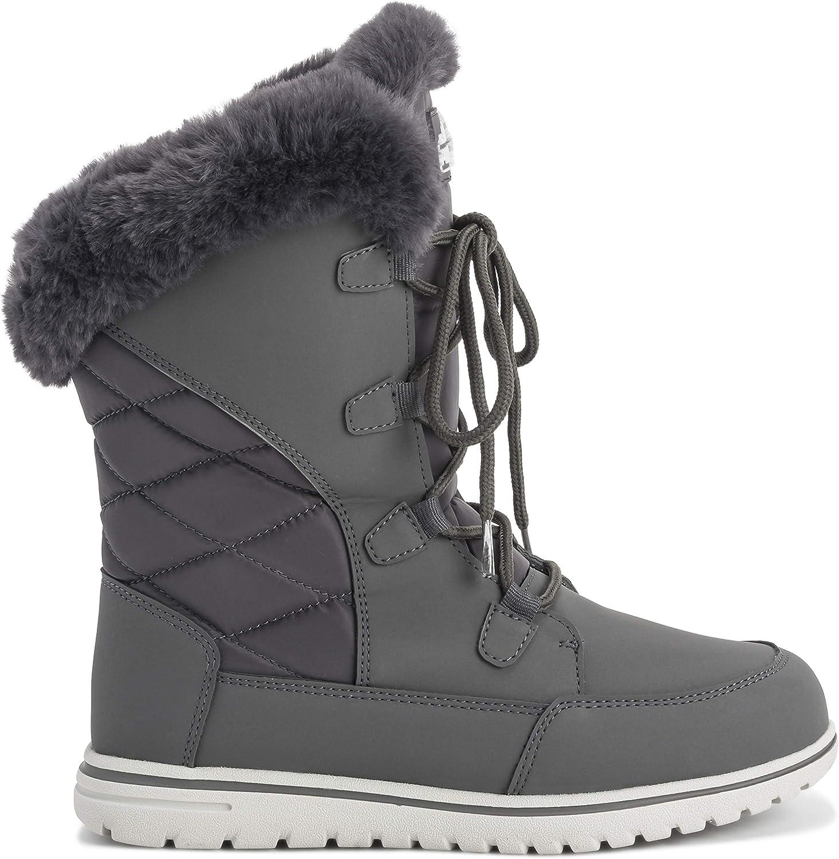 Womens Duck Waterproof Rain Snow Winter Fleece Lined Warm Mid Calf Boots