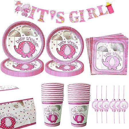 tazze e cappelli con tovaglia Confezione da 122 pezzi striscione Hello Baby Girl piatti