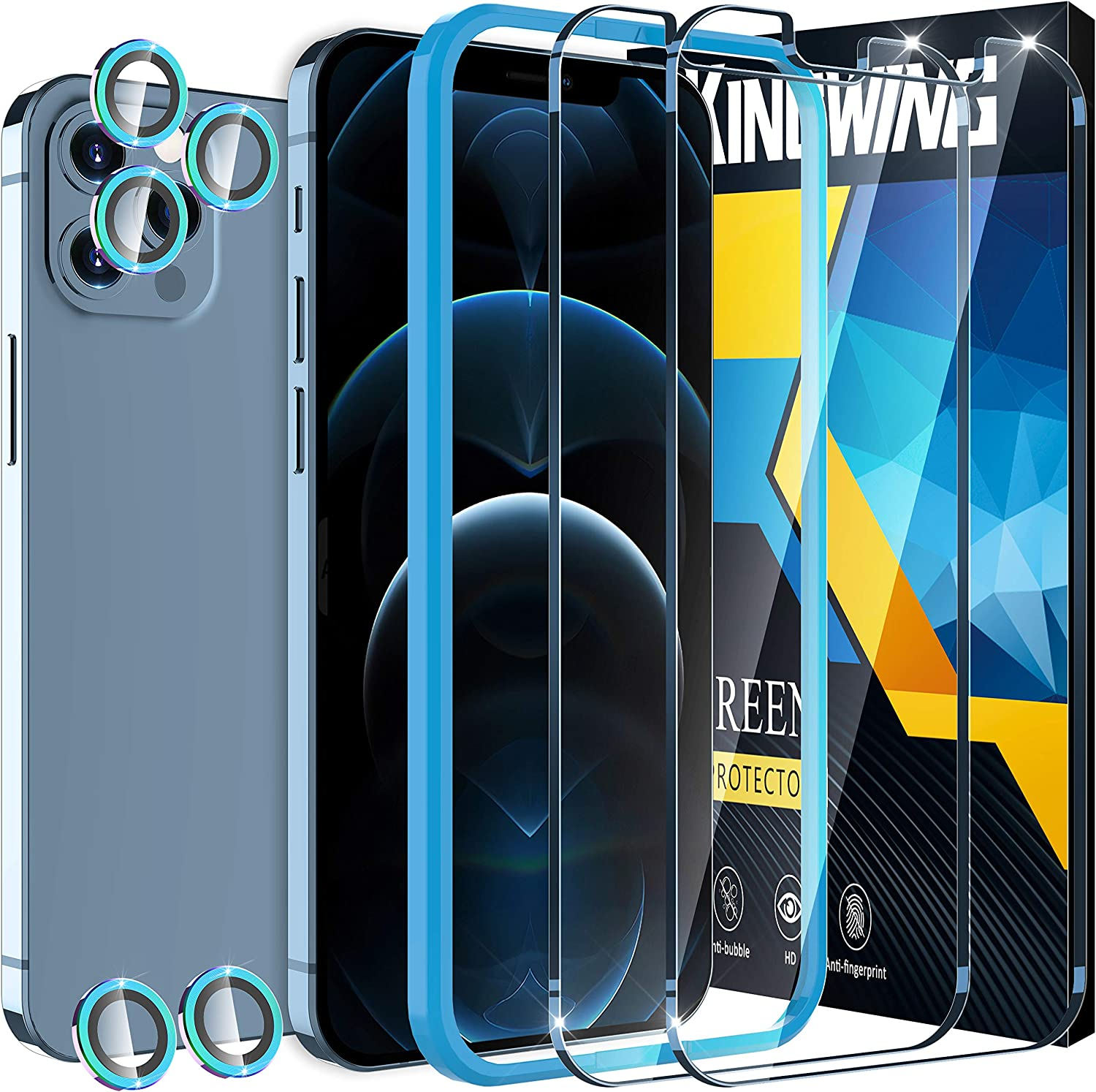 [2+5 Pack ] KINGWING Screen Protector Compatible with iPhone 12 Pro Max 5G (6.7 inch), 2 Pack Tempered Glass + 5 Pack Color Camera Lens Protector [Installation Frame] [U-Shaped Cutout]