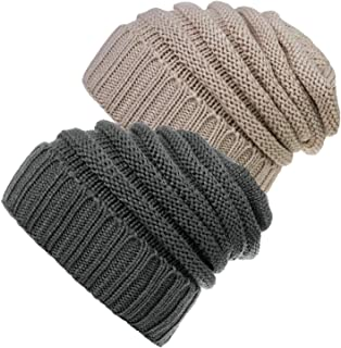 Senker 2 Pack Slouchy Beanie Cap Knit Soft Cozy Cable Hats for Women and Men