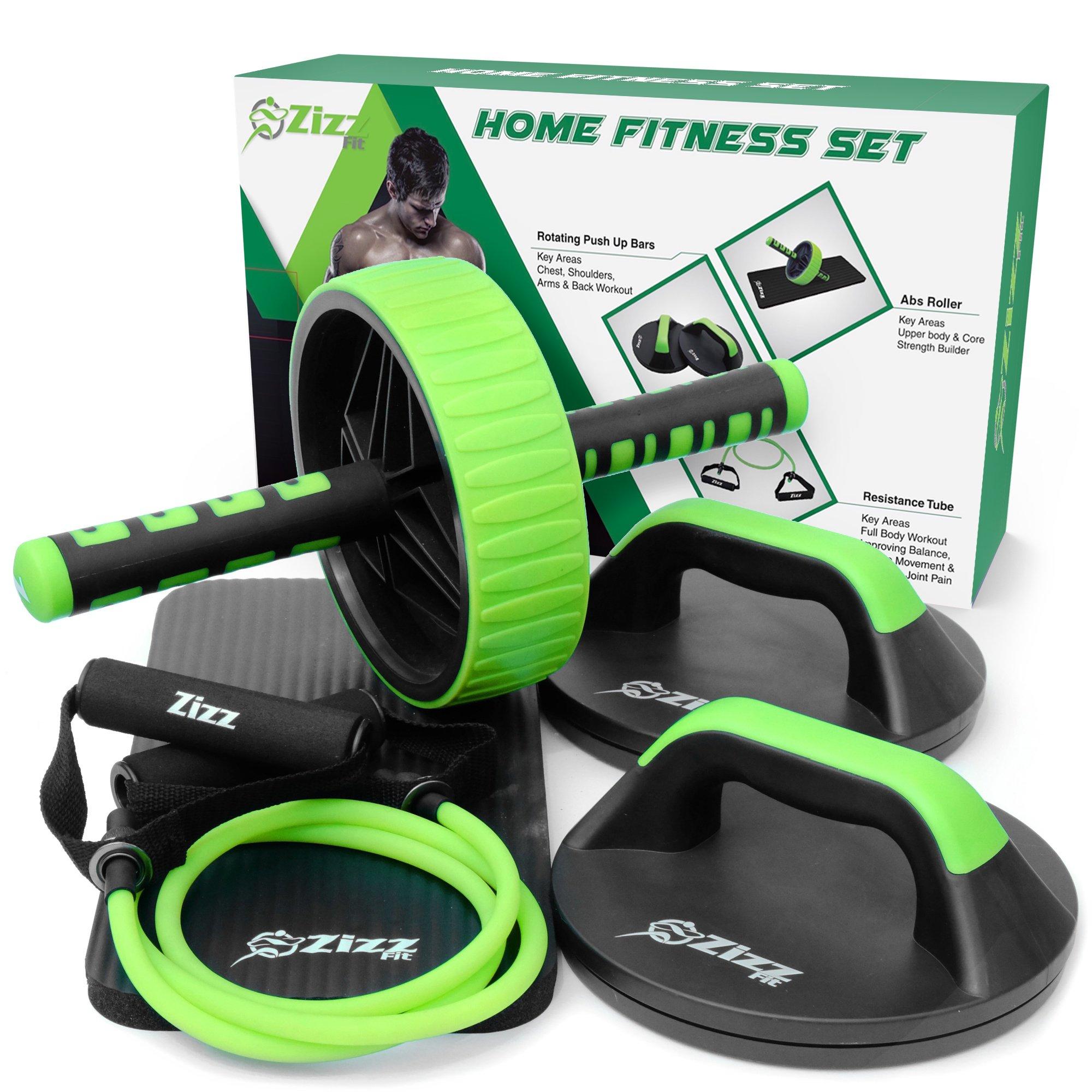 Set de ejercicio de alta calidad, 1 rueda de abdominales, 2 barras de flexiones, 1 tubo elástico con asideros, kit de ejercicio para casa, el gimnasio, la oficina, hoteles, de Zizz Fit: