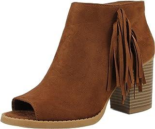 f86b3e03e SODA Raton-S Women's Sueded Peep Toe Fringe Western Chunky Stacked Heel  Bootie