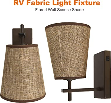 Facon LED RV Fabric Light Fixture with Flared Wall Sconce Shade, Wall Mount LED Decor Lamp Bedside Reading Light with Switch,