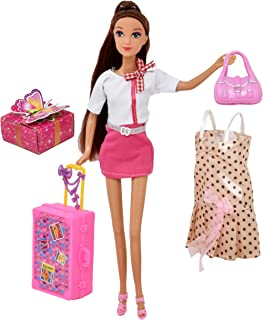 Best Doll Travel Play Set, Includes 12 Inch Flight Attendant Fashion Doll, Luggage Accessories, Traveling Suitcase, 2 Outfits, Purse and Gift Box, Style May Vary Review