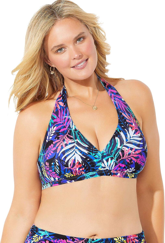 Swimsuits For All Women's 特売 Plus Diva 大人気 Size Bikini Top Halter