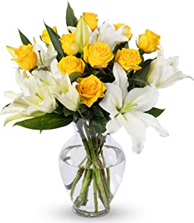 Benchmark Bouquets Yellow Roses and White Oriental Lilies, With Vase (Fresh Cut Flowers)