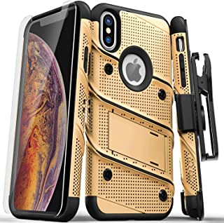 ZIZO Bolt Series iPhone Xs Max case Military Grade Drop Tested with Tempered Glass Screen Protector, Holster, Kickstand Gold Black