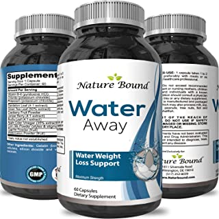 Nature Bound's Water Away Supplement for Fast Bloating and Swelling Relief Pure Natural Diuretic Pills Reduce Water Retention Support Weight Loss Boost Energy Levels for Men and Women 60 Capsules