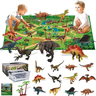 Beauenty Beauenty Dinosaur Toys Set, 47.2 x 31.5 in Soft Play Mat- 13 Realistic Dinosaur Figures Playset to Create a Dino ...