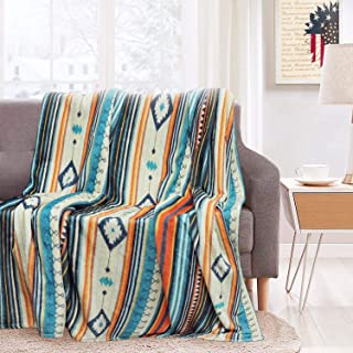 """GXQQ Stripe Boho Throw Blankets for Couch, Lightweight Farmhouse Luxury Sherpa Blanket, Super Soft & Cozy Flannel Throw Blanket for Bed Sofa Couch 50""""x60"""""""