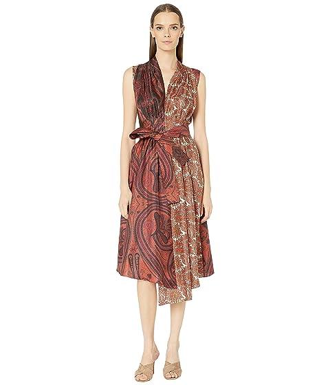 Adam Lippes Printed Silk Twill Asymmetrical Dress