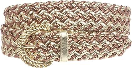 1 1/4 Inch Wide Metallic Braided Woven Belt