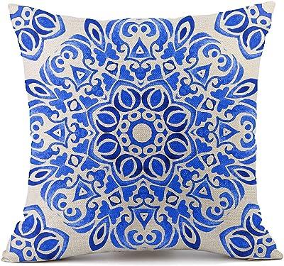 Vioaplem - Funda de cojín Azul y Blanco de Porcelana, algodón, Lino, para sofá, Dormitorio, hogar, 45 x 45 cm, A001, 45 x 45 cm: Amazon.es: Hogar