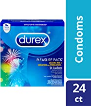 Durex Pleasure Pack- Assorted Combo Pack Featuring Performax Intense, Intense Sensation, Extra Sensitive &Tropical Flavor Natural Latex Condoms, Sensation and Stimulation, HSA Eligible, 24 Count