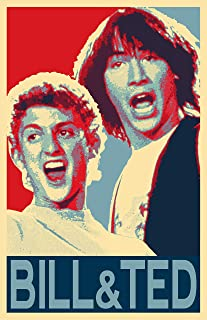 NLopezArt Bill and Ted's Excellent Adventure Illustration - Pop Art Movie Home Decor Film 80's Comedy Movie Poster Print (11x17 inches) (11x17 inches)