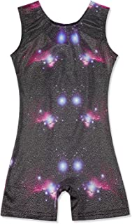 Girls Gymnastics Leotards with Shorts Dance Ballet Unitard Sparkly Biketard for 2-10T