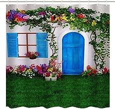 BROSHAN Garden Home Decor Shower Curtain, Summer Spanish House with Wooden Door Window Flowers Grass Spring Bath Art Curtain, Nature Fabric Waterproof Bathroom Décor Set, Green Red White