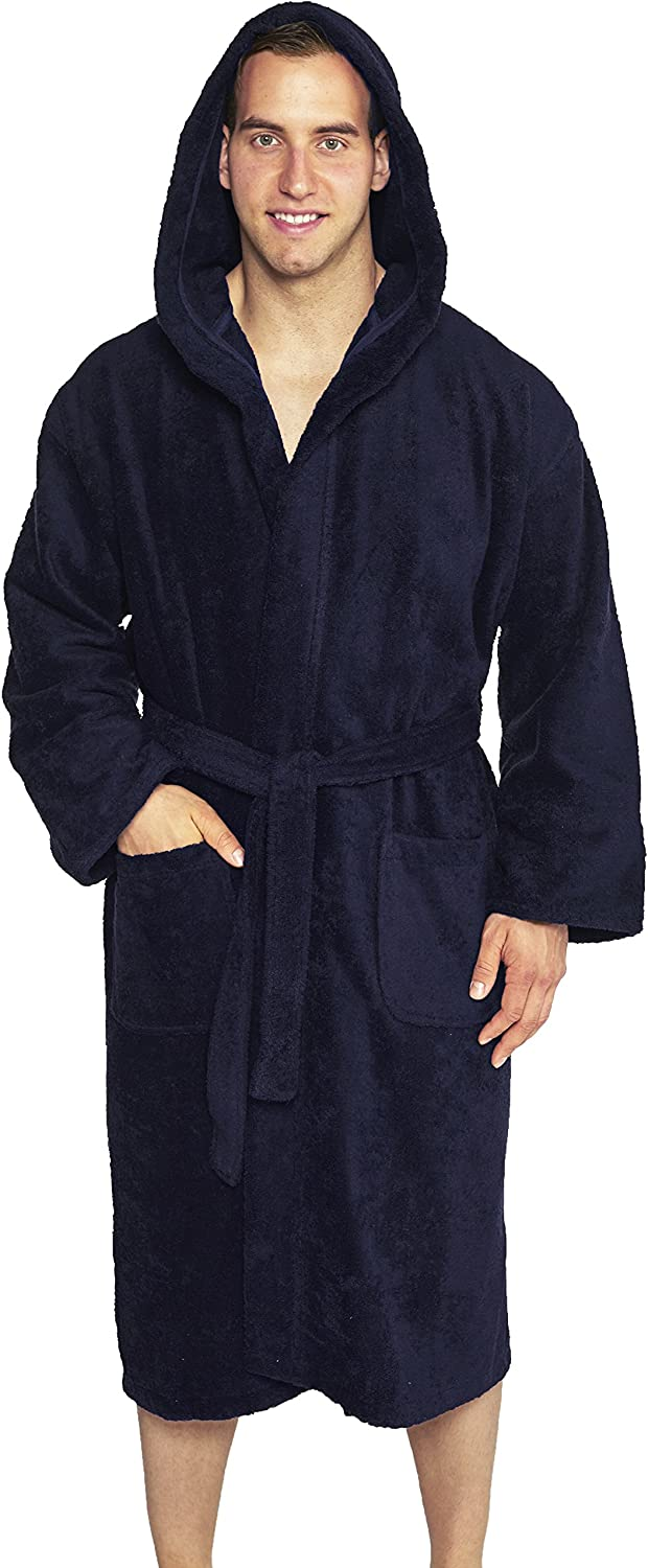 Hooded Terry Bathrobe Unisex, 100% Combed Pure Turkish Cotton, Made in Turkey