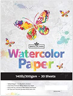 Brite Crown Watercolor Paper Pad - 140lb/300gsm – Bright White 30 Sheets (9x12) Cold Press Texture, Acid Free Watercolor Paper for Kids, Teens and Adult Painters, Wet Media & Mixed Media Artists