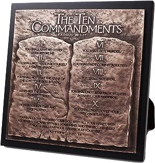 Lighthouse Christian Products The Ten Commandments Hammered Bronze Tone 8.75 x 8.75 Cast Stone Sculpture Plaque