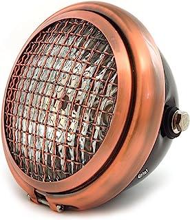 "5.75"" Bullet Side Mount Halogen Motorcycle Headlight w/Grill - Gloss Black Bronze Bronze"