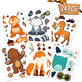 Happy Storm Woodland Party Supplies 24 Make A Woodland Creatures Sticker Sheets Woodland Animal Nursery Stickers for Baby Shower Fox Birthday Decorations Make Your Own Animal Stickers Favors