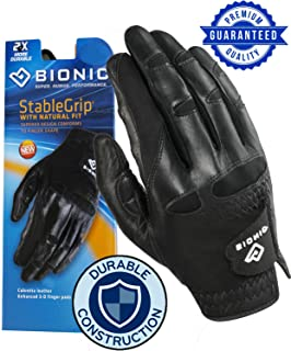 2019 New Improved 2X Long Lasting Bionic StableGrip Men's Black Golf Glove - Patented Stable Grip Genuine Cabretta Leather, Natural Fit Designed by Orthopedic Surgeon!