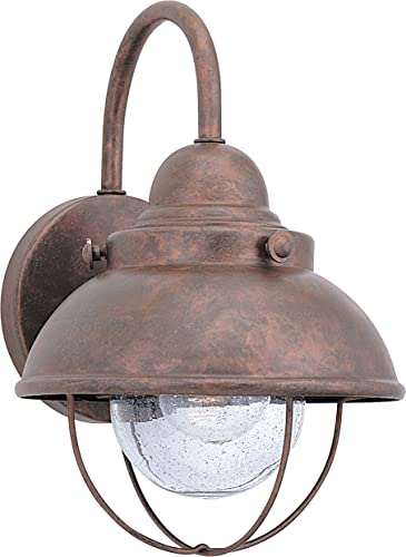 2021 Sea Gull Lighting 8870-44 Sebring One-Light Outdoor Wall Lantern with Clear Seeded lowest Glass Diffuser, 2021 Weathered Copper Finish outlet online sale