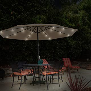 Pure Garden 50-LG1175 Patio Umbrella – 10 Foot Pool and Deck Shade with Solar Powered LED Lights Crank Tilt and Fade Resistant, UV Protection Canopy (Sand)
