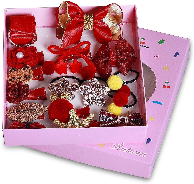 Seatecks 18 Piezas Pinzas Bebe Niña Set de Pinza de Pelo Chicas Accesorios Para el Cabello Flor Arco Barrettes Horquillas Lindo-Rojo