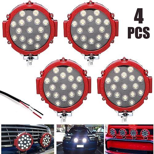 2021 7 online Inch 51w LED Work Light Driving Lamp outlet online sale Spot Beam for Off Road Truck Boat 4X4 6000K White Waterproof Steel Bracket Easy Installation, Pack of 4 online