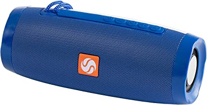 SilverOnyx Bluetooth Speakers Portable Wireless Waterproof Speaker with Lights, Loud Clear HD Stereo Sound, Rich Bass Subwoofer, Built-in Microphone, IPX-6 for Shower, Home, Travel - 157 Blue