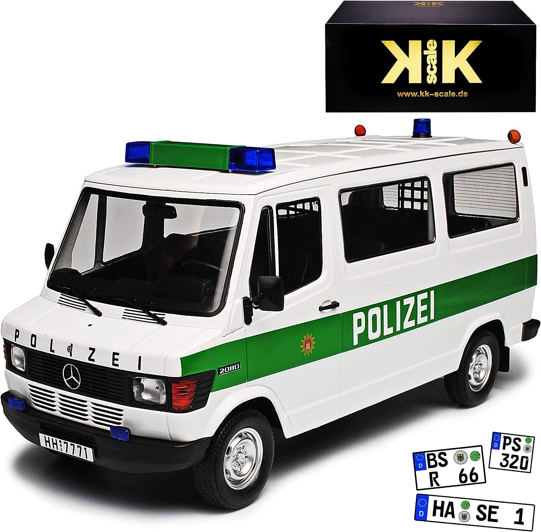 KK-Scale Mercedes-Benz T1 TN 208 D Transporter Personen Weiss Polizei 1977-1995 1 18 Modell Auto mit individiuellem Wunschkennzeichen