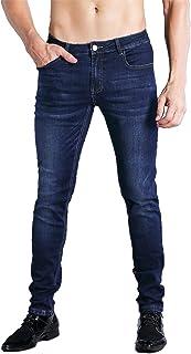 ZLZ Slim Fit Jeans, Men's Younger-Looking Fashionable Colorful Super Comfy Stretch Skinny Fit Denim Jeans