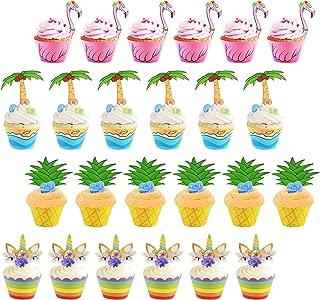 ZoomSky 24 Sets Cupcake Topper Wrapper, Envoltorios de Pastel Pool Party Supplies Decoraciones de Pasteles para Fiestas temáticas de cumpleaños Baby Shower Hawai