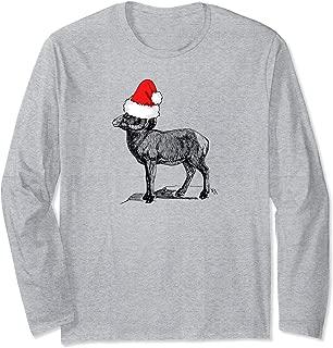 Mountain Goat Wearing a Santa Clause Christmas Hat Long Sleeve T-Shirt