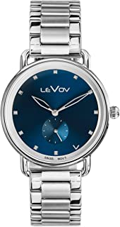 Levov Stainless Steel Mens Watch - Swiss Movement Quartz Watch for Men - 38mm Stainless Steel Case with Blue Dial - 18mm Watch Band