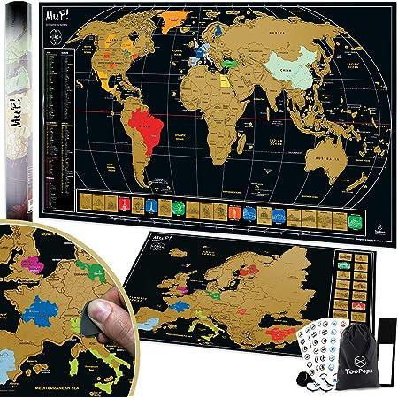 Mandala per adulti Idea regalo Decorazione da parete Mappa del mondo speciale da grattare in stile mandala in nero e argento Mandala Designer Scratch Map Mappa del mondo da grattare