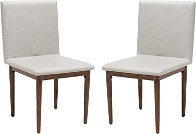 SAFAVIEH Couture Home Collection Milana Brown Linen Dining Chair (Set of 2) -Fully Assembled SFV5731A-SET2, Walnut/Light Grey