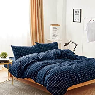 Wake In Cloud - Navy Grid Duvet Cover Set, 100% Washed Cotton Bedding, Navy Blue with White Grid Plaid Geometric Pattern Printed, with Zipper Closure (3pcs, Full Size)