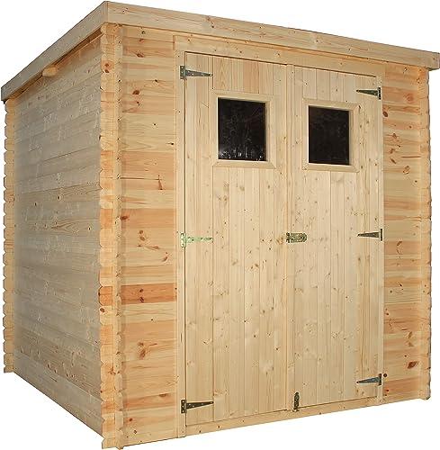 TIMBELA Abri de Jardin en Bois M309 - Stockage extérieur l204xL204xH202 cm/3.53 m2 - Petit abri à Outils, Local à vél...