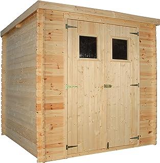 TIMBELA Abri de Jardin en Bois M309 - Stockage extérieur l204xL204xH202 cm/3.53 m2 - Petit abri à Outils, Local à vélos - ...