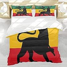 LAMANNT Duvet Cover Set,Rasta Rastafarian Flag with Judah Lion on Reggae Music Inspired Image,3 Pcs Decor Bedding Set,1 Duvet Cover with 2 Pillow Shams,Queen Size
