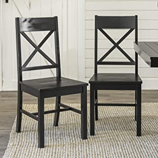 WE Furniture Modern Farmhouse Wood X-Back Kitchen Dining Chairs, Set of 2, Black