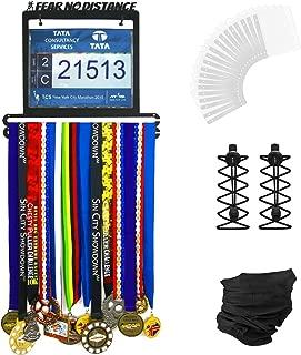 Urban Active Sports Medal Display - Complete Bundle Medal Holder Bib Hanger for 60+ Medals 120 Runner Race Bibs + Includes 23 Bibs Vinyl Sleeves + Locking Laces + Multipurpose Scarf