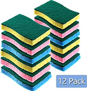 12 Pieces Cleaning Scrubbing Sponge, Kitchen Cellulose Dish Sponge for Removing Hard Dirt, Oil, Non-Scratch on Windows Non-Stick Pan, Assorted Colors (Style C)