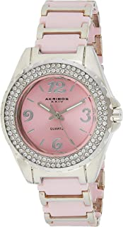 Akribos XXIV Women's Crystal Watch - Two Rows of Genuine Crystal on Bezel with Luminescent Hands On Ceramic Bracelet - AK514